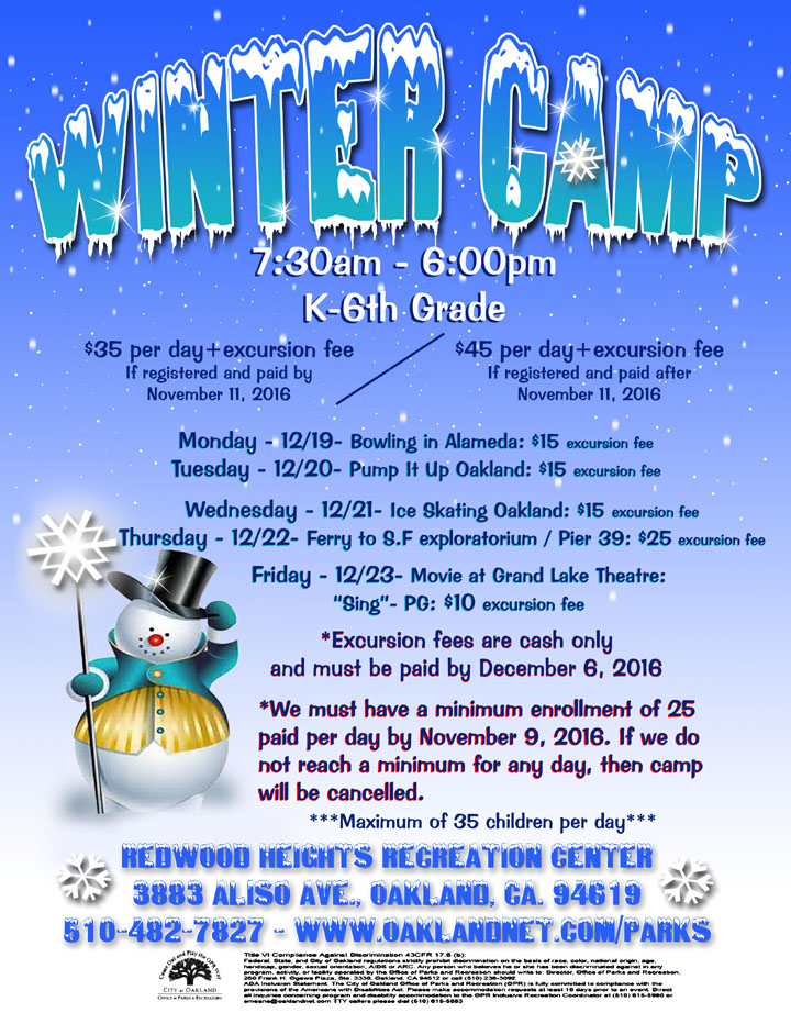 Winter Camp at Redwood Heights Recreation Center