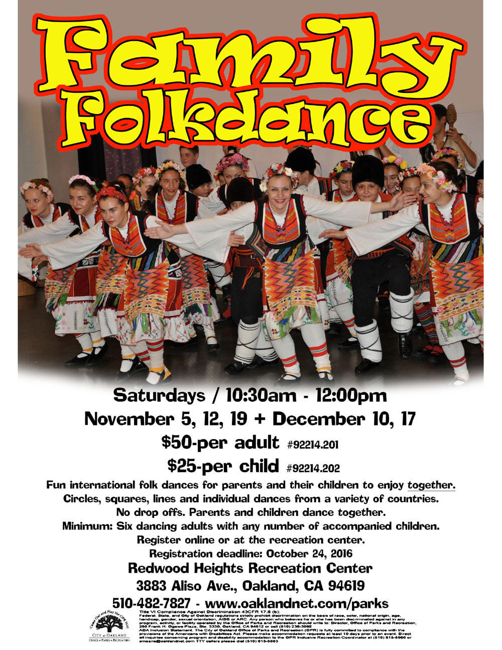 Family Folkdance at Redwood Heights Recreation Center