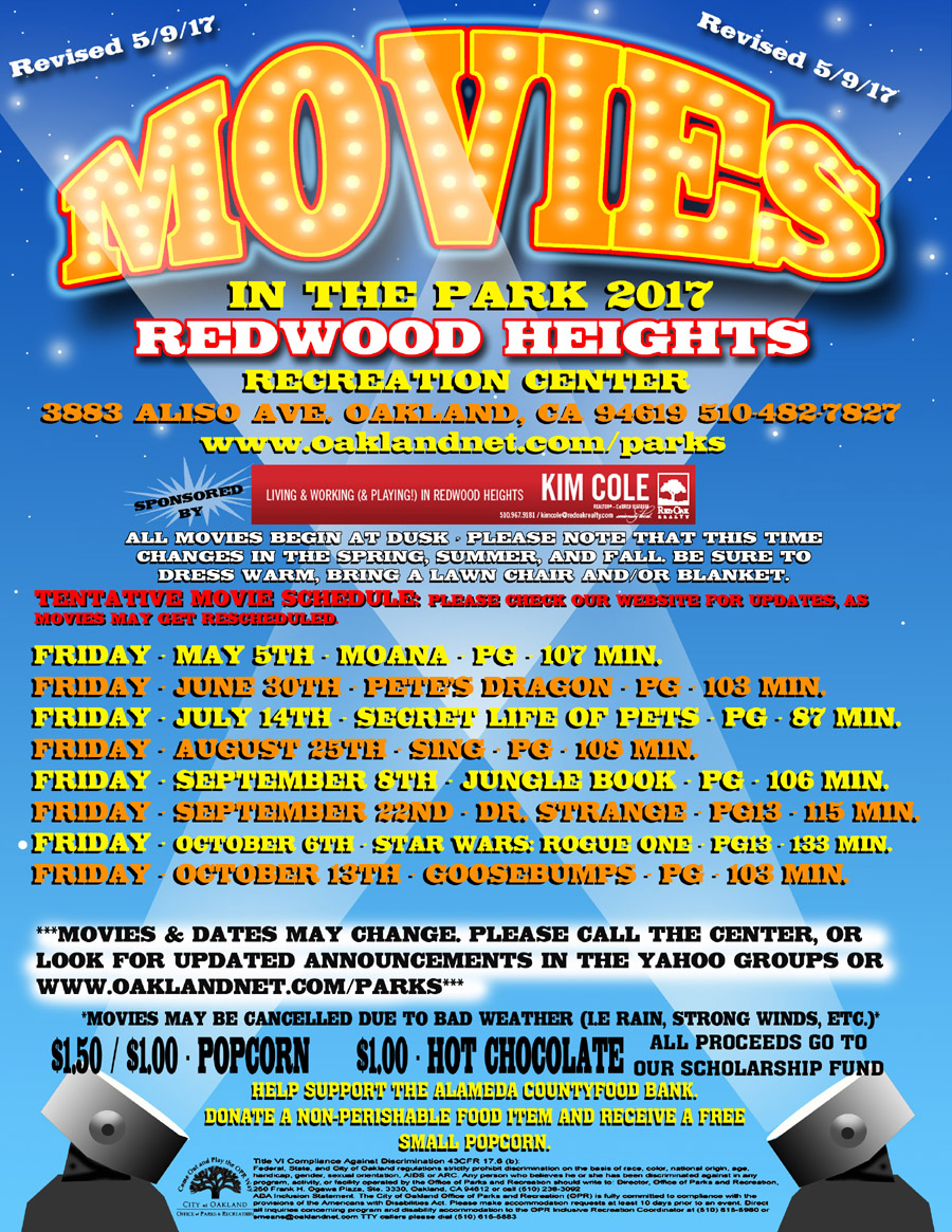 Movies in the Park  2017 at Redwood Heights Recreation Center update 5/9/17