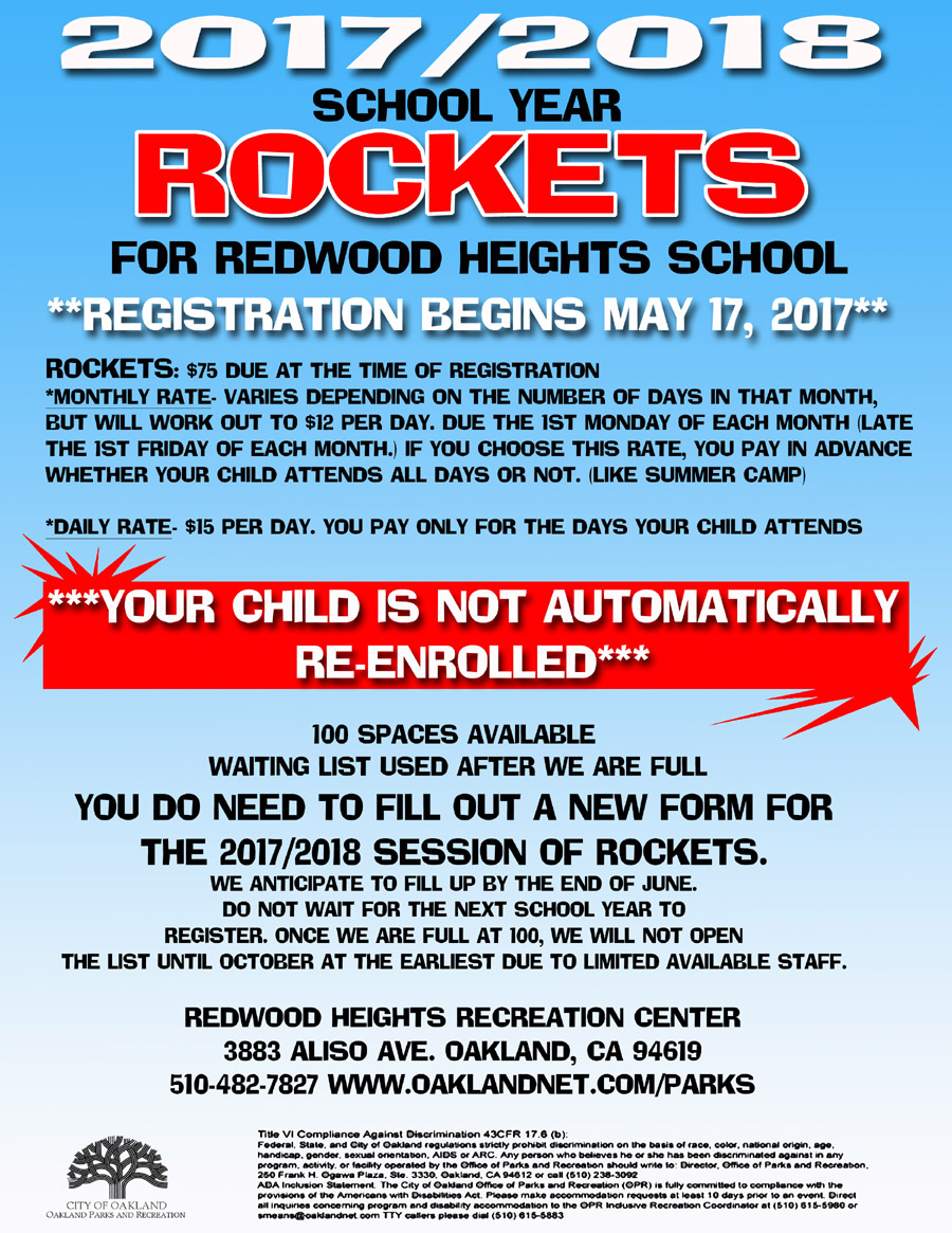 Rockets after school program Registration Flyer Park  2017