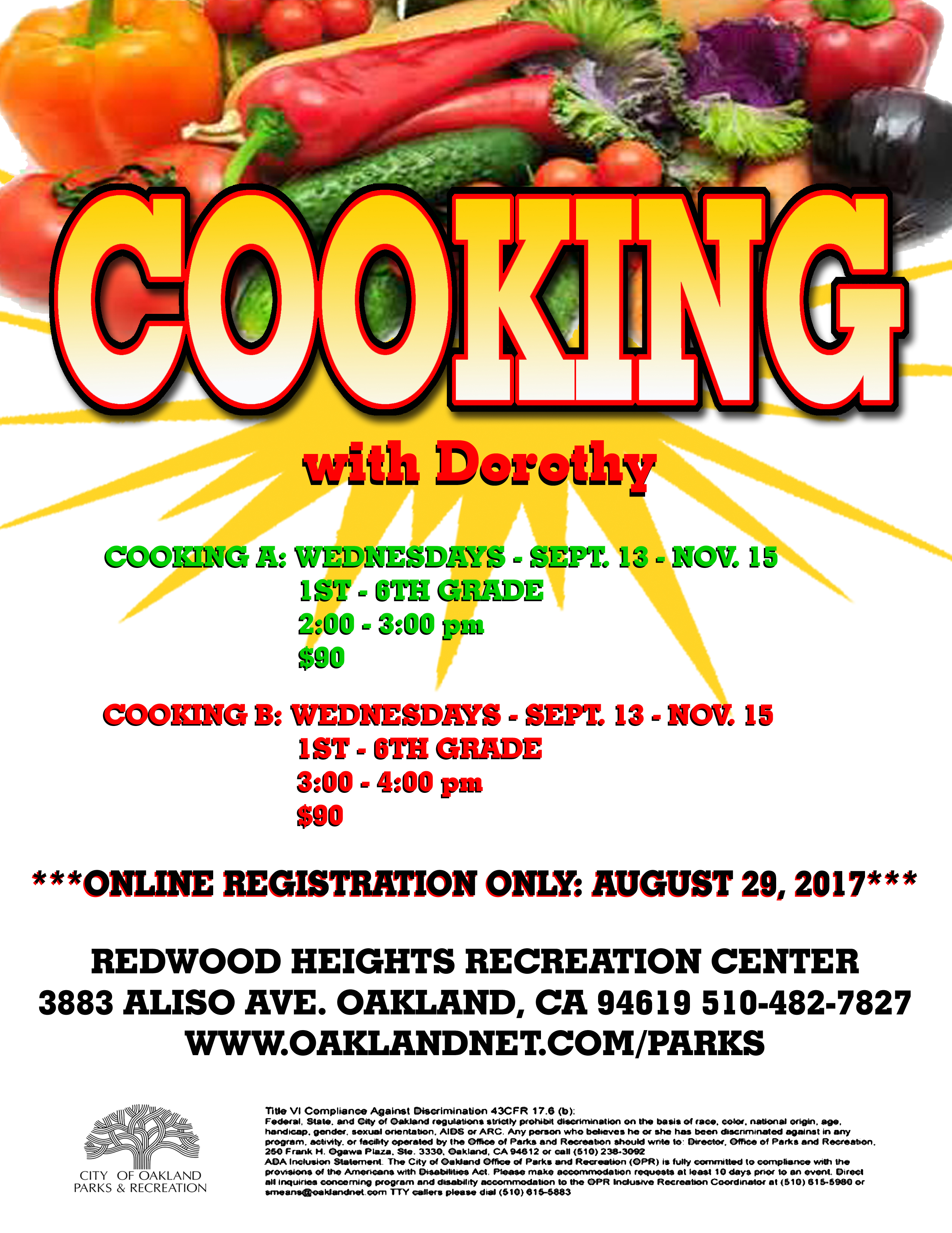 Cooking at Redwood Heights Recreation Center