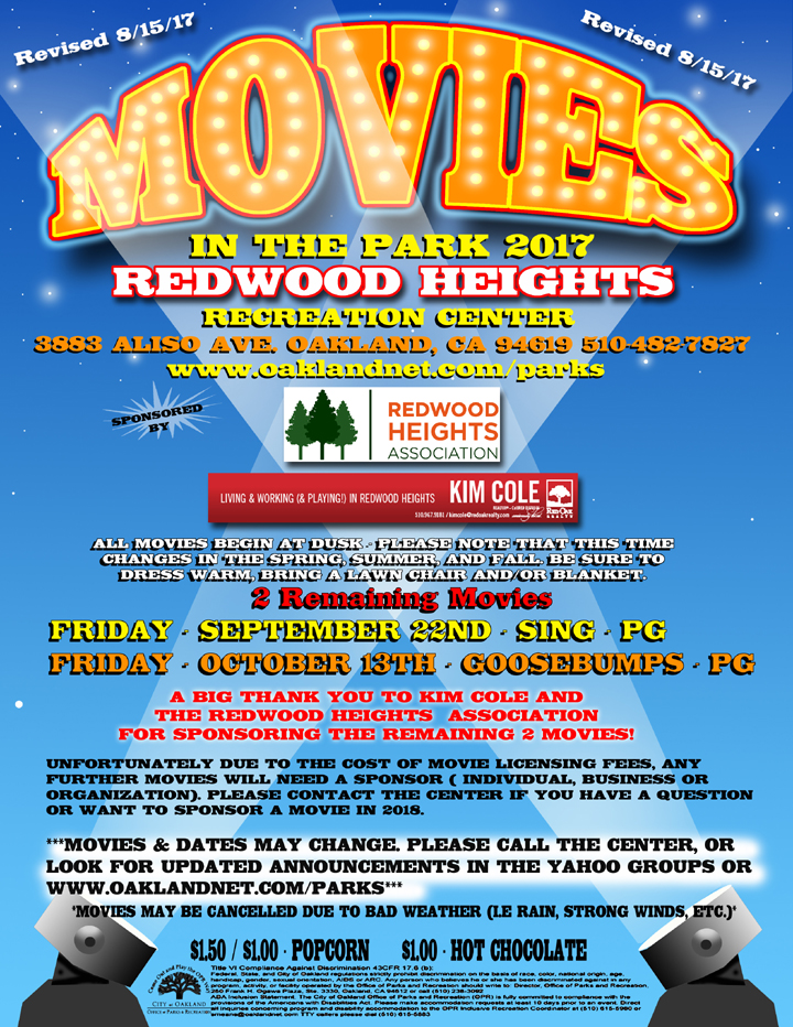 Movies in the Park at Redwood Heights Recreation Center