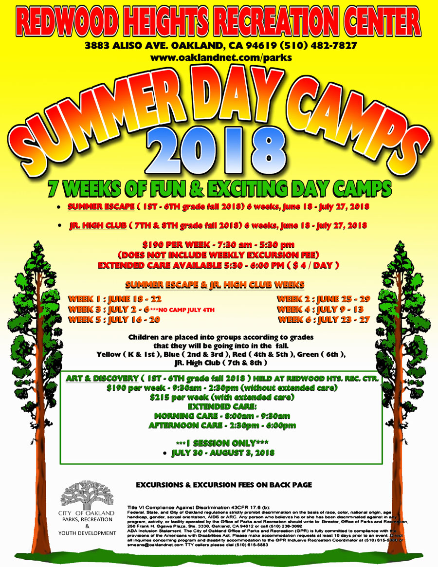 Redwood Heights Recreation Center Summer Day Camp Flyer 2018