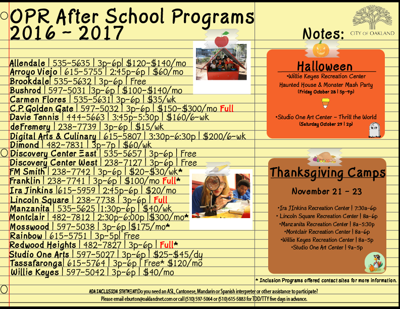 Afterschool Camps Card
