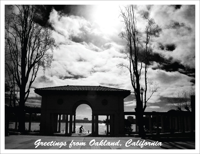 photo of Lake Merritt pergola and bicyclist