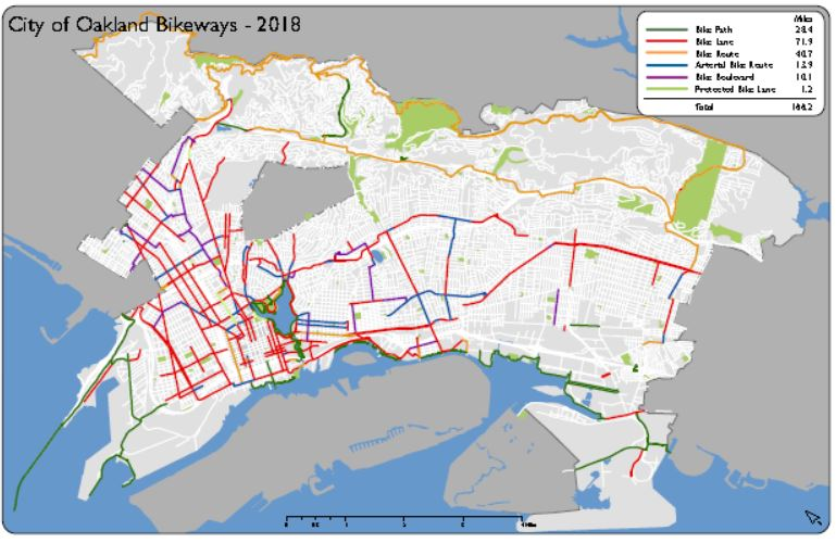 Oakland Bikeways by year