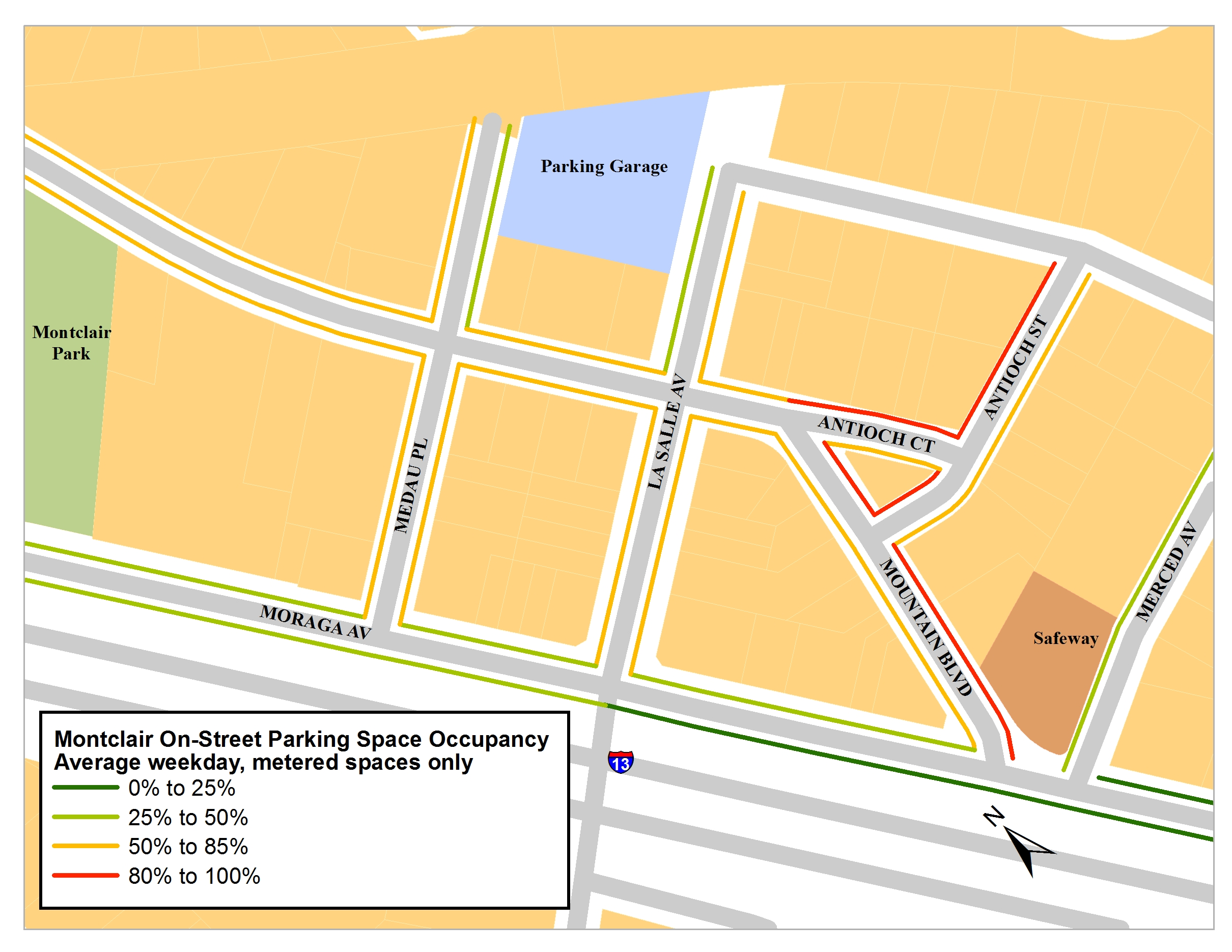 Parking occupancy map for Montclair