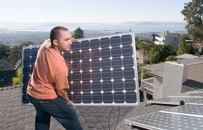 Solar panel being installed on a residential roof overlooking the Bay by Sungevity worker
