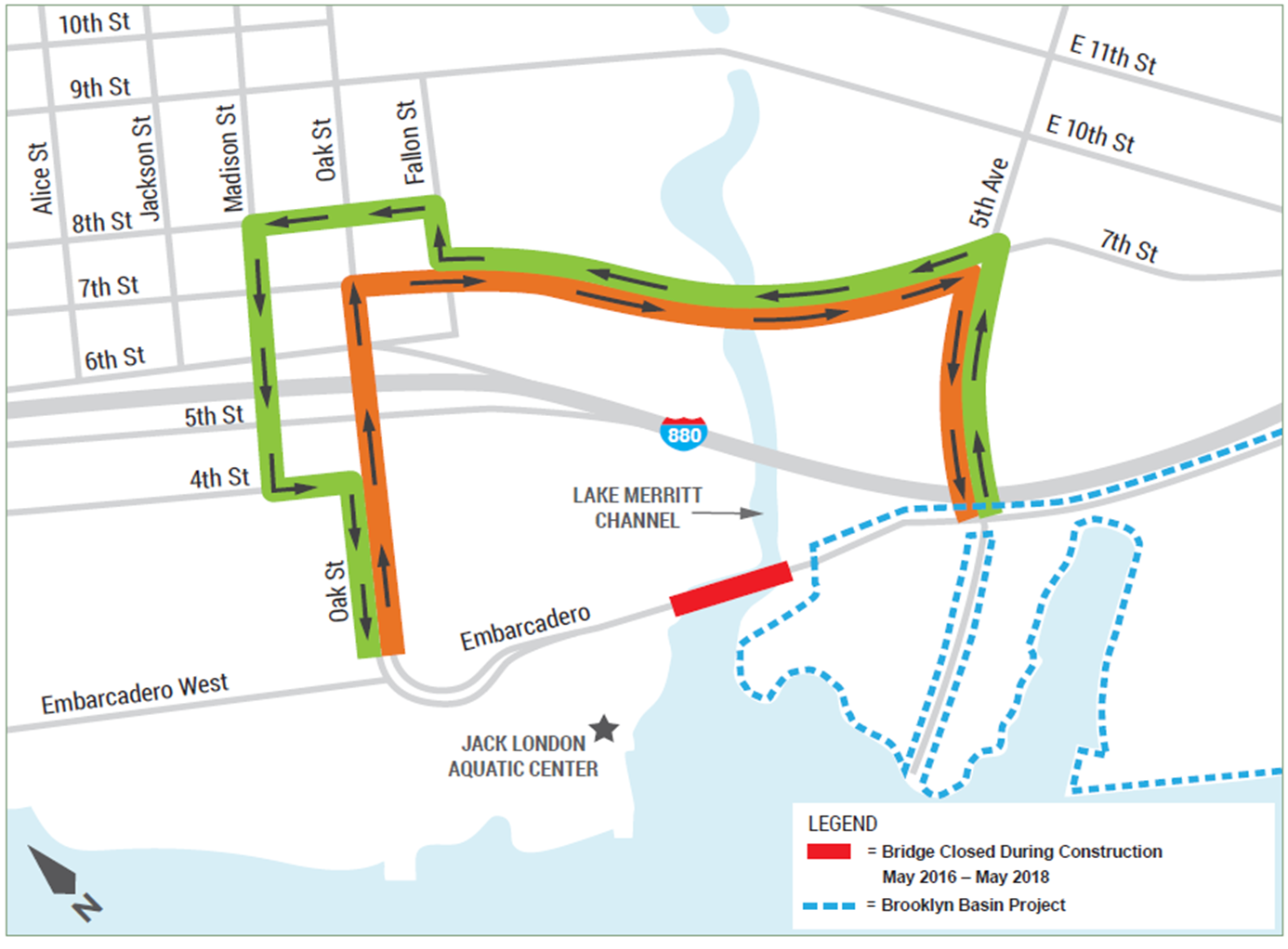 Embarcadero Bridge Local Detour Map
