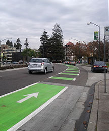 Photo of green bike lane