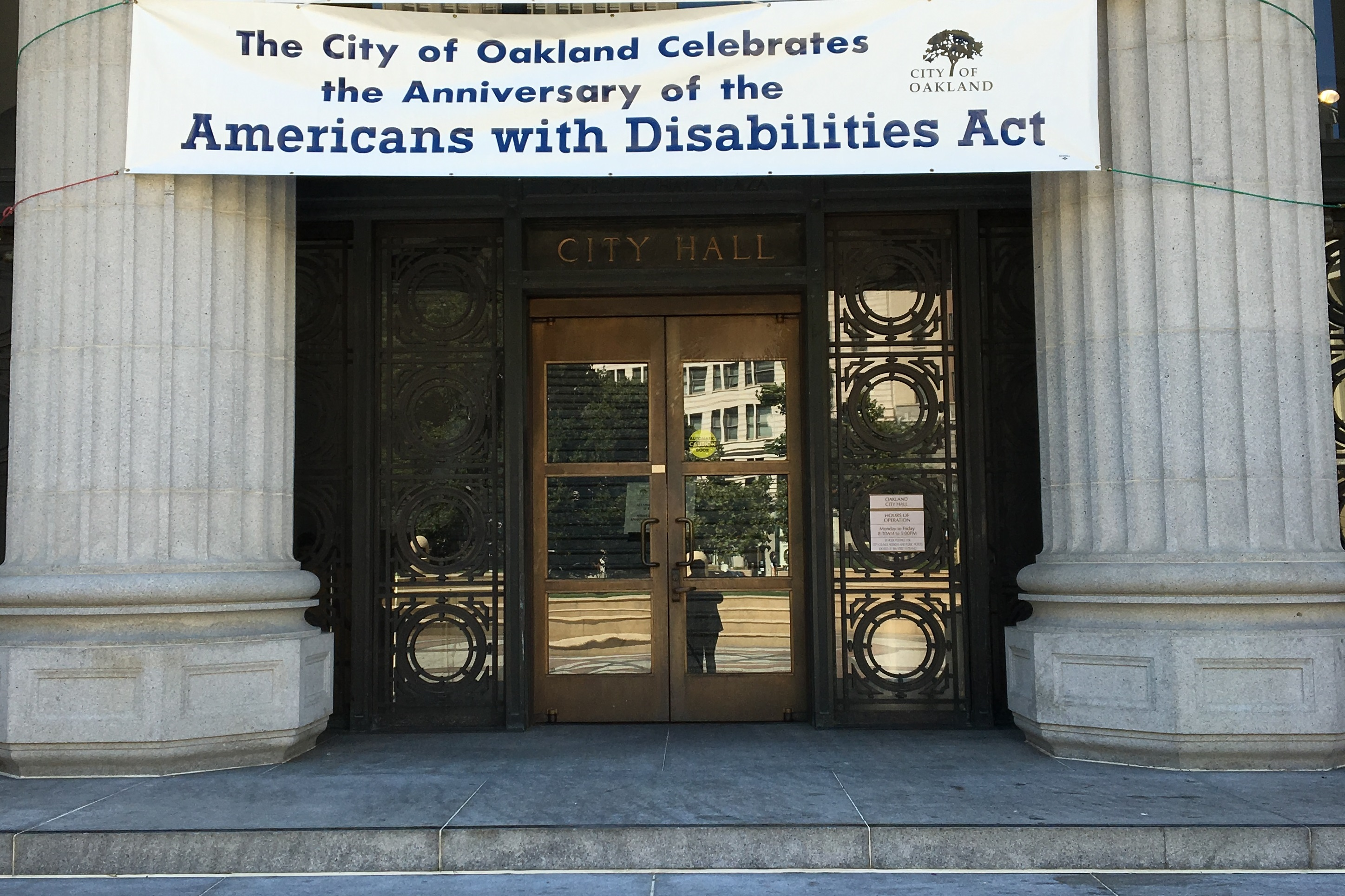 ADA 26th Anniversary Banner at City Hall